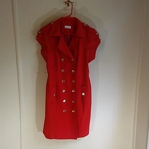 Calvin Klein size 12 red shirt dress military gold
